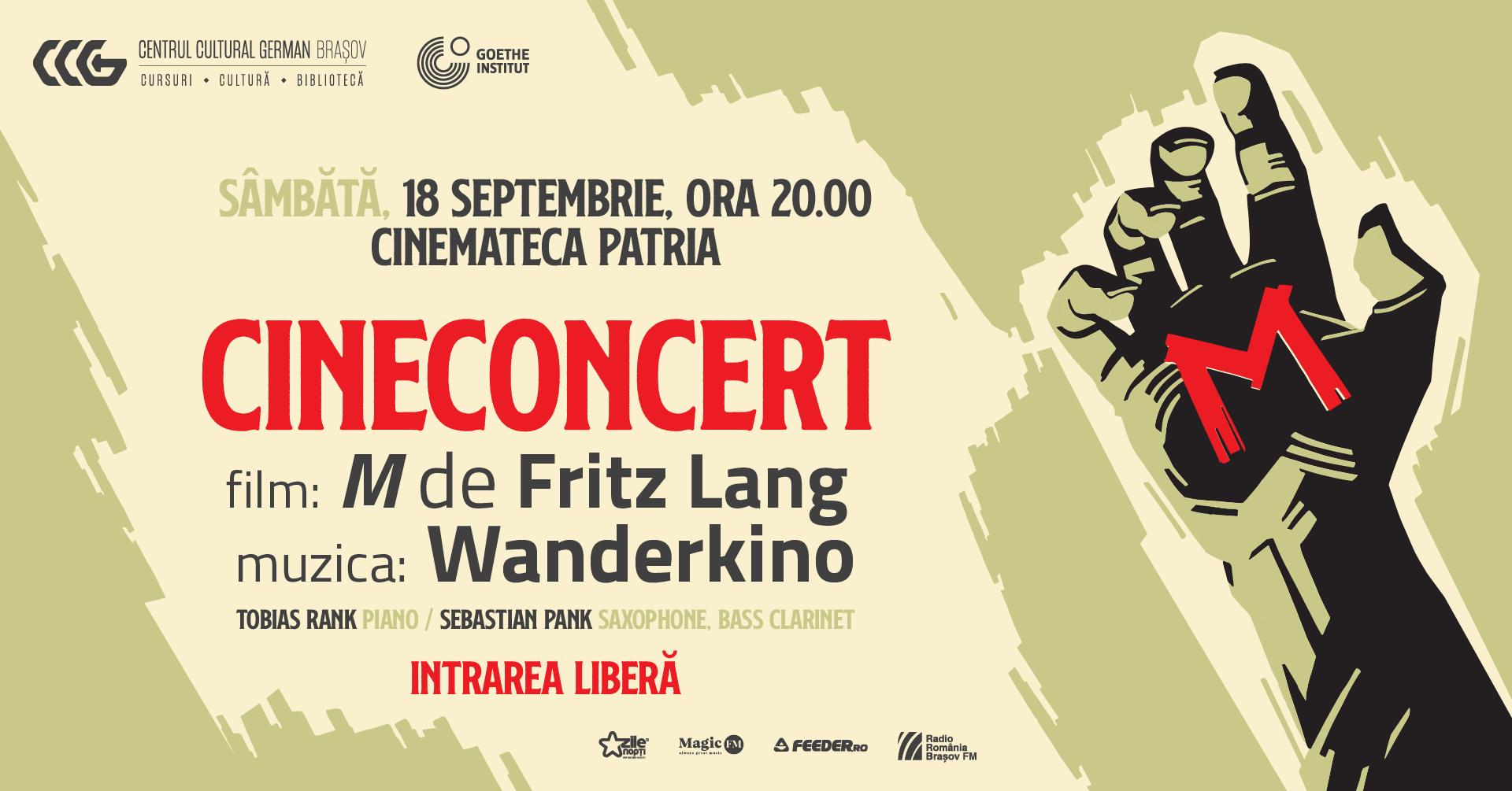 Sâmbătă, 18 septembrie 2021 caravana de filme clasice cu acompaniament live Wanderkino poposește pentru a doua oară la Brașov! De data aceasta, Wanderkino nu va mai prezenta publicului brașovean o serie de filme scurte, ci capodopera regizorului german Fritz Lang M- Un oraș își caută asasinul. Proiecția filmului, care va avea loc la Cinemateca Patria, va fi însoțită de acompaniamentul muzical live susținut de Tobias Rank la pian și de Sebastian Pank la saxofon și clarinet. Proiecția va începe de la ora 20:00.
